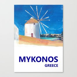 Mykonos Greece Windmill, Sea and Little Venice Travel Retro Poster Canvas Print