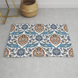 Iznik Tile Pattern Blue White Brown Rug
