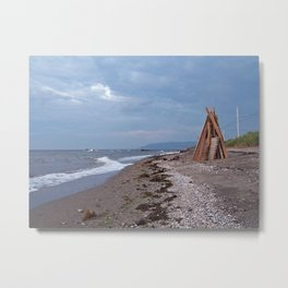 Beach bonfire on the Gaspe coast Metal Print