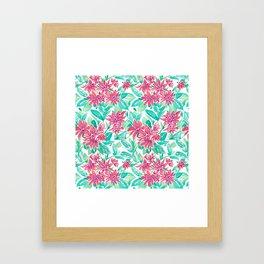 Ixora Hybrid Crimson Star Watercolor Pattern Framed Art Print