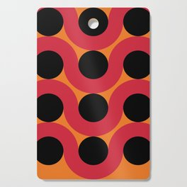 Black Balls on red Elastic Worms in an Orange Background Cutting Board