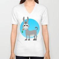 donkey V-neck T-shirts featuring Little donkey by tuditees