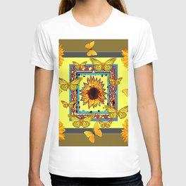 WESTERN STYLE BUTTERFLIES-SUNFLOWERS ART T-shirt