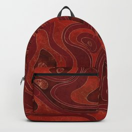 Marble Map -Deep Reds and Gold Backpack
