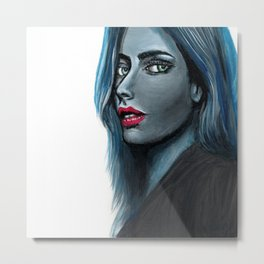 Blue Woman #painting #illustration Metal Print