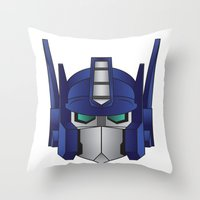 optimus prime Throw Pillows featuring Optimus Prime by Tombst0ne