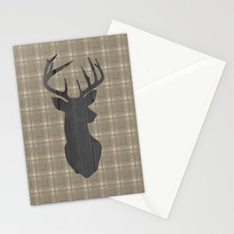 Country Farmhouse Rustic Decor, Plaid and Stag, Beige, Brown Stationery Cards