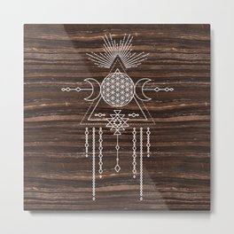 Triple Goddess - Flower of Life - Moon Phase - Shaman - Tribal - Sri Yantra - Brown Marble - Wood - Metal Print