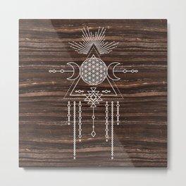 Triple Goddess - Flower of Life - Moon Phase - Shaman - Tribal - Sri Yantra - Brown Marble - Wood - Metal Print