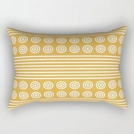 Geometric Golden Yellow Ochre & White Horizontal Stripes and Circles Rectangular Pillow