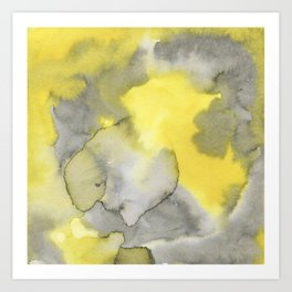Hand painted gray yellow abstract watercolor pattern Art Print