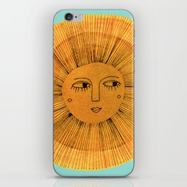 Sun Drawing Gold and Blue iPhone Skin