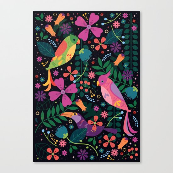 Enchanted Tiki Birds Canvas Print