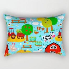 Farm Animals Blue Sky Barnyard Pattern Rectangular Pillow