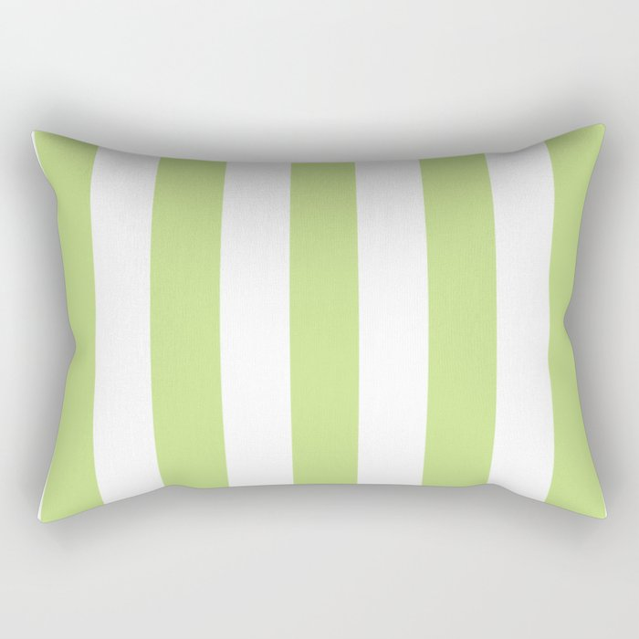 Yellow-green (Crayola) - solid color - white vertical lines pattern Rectangular Pillow