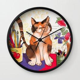 Artist's Cat Wall Clock