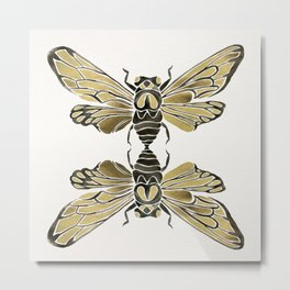 Summer Cicada – Black & Gold Palette Metal Print