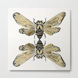 Summer Cicada – Black & Gold Palette Metal Print