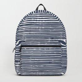 Stripes, Mudcloth, Indigo, Navy Blue, Boho Wall Art Backpack