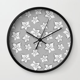 Maple Leaves - Gray Pattern Wall Clock