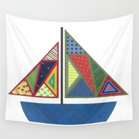 sailboat Wall Tapestries featuring Kids Sailboat by ZaMo Arts