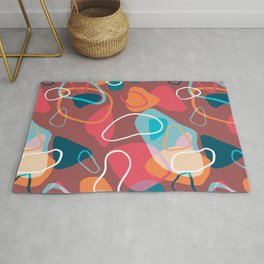 Topographic Terrazzo Abstract Colorblock Pattern Rug