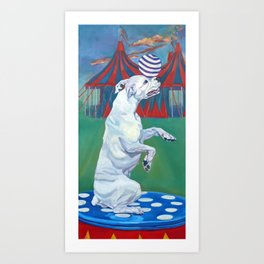White Boxer Dog and a Balancing Ball Art Print