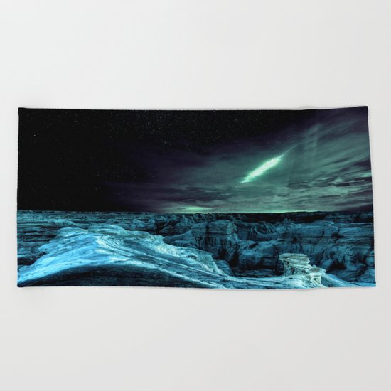galaxy mountains teal Beach Towel
