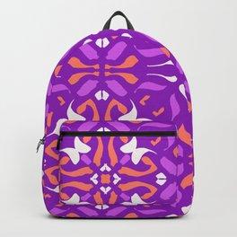 Vibrant Purple Aesthetics - Symmetric Abstract Boho Tiles - Orange Mandala Backpack