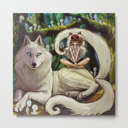 Wolf Princess in the Forest Metal Print