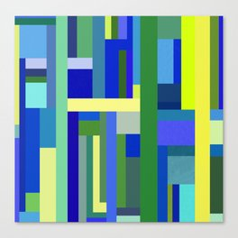 Abstract Blue Lime Pattern Canvas Print