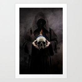 Skull on fire Art Print