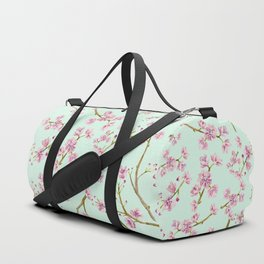 Spring Flowers - Mint and Pink Cherry Blossom Pattern Duffle Bag