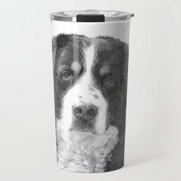 Black and White Bernese Mountain Dog Travel Mug