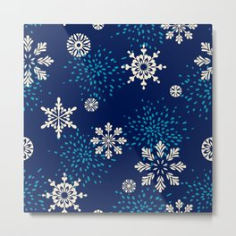 Navy blue aqua white geometrical Christmas snowflakes Metal Print