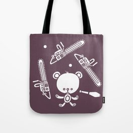 Cute Teddy Juggling 2 Balls, 3 Chainsaws and Club Tote Bag
