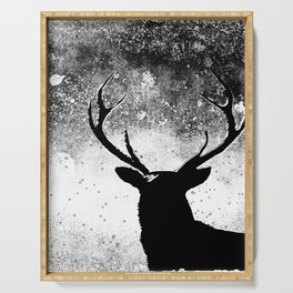 Deer in the Night Black and White Serving Tray