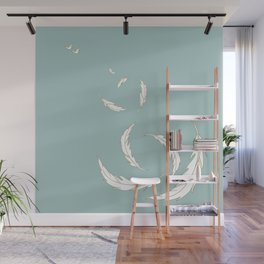 Come fly with me blue illustration Wall Mural