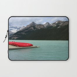 Lake Louise Red Canoes Laptop Sleeve