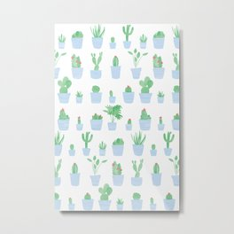 Cacti and Plants in Pots | Blue Palette Metal Print