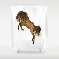 gypsy Shower Curtains featuring HORSE - Gypsy by valzart