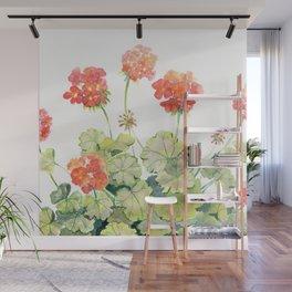 Geranium Watercolor  Wall Mural