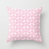 macaroon Throw Pillows featuring French Macaroon Pattern - Paris Art - Pink Macaron by French Macaron Art Print and Decor Store