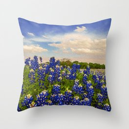 Bluebonnet Texas Throw Pillow