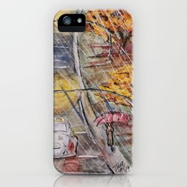 Rainy November Street iPhone Case