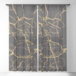 STOCKHOLM SWEDEN GOLD ON BLACK CITY MAP Sheer Curtain