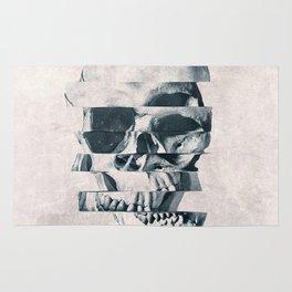 Glitch Skull Mono Rug