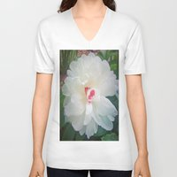 peonies V-neck T-shirts featuring Peonies by GT6673