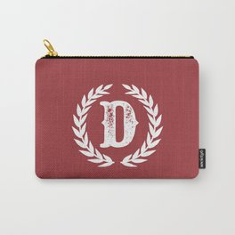 Rustic Red Monogram: Letter D Carry-All Pouch