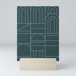 Deco Geometric 04 Teal Mini Art Print